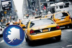 alaska map icon and New York City taxis