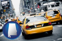 alabama map icon and New York City taxis