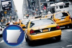 arkansas map icon and New York City taxis