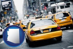 arizona map icon and New York City taxis