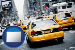 colorado map icon and New York City taxis
