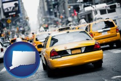 connecticut map icon and New York City taxis
