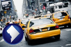 washington-dc map icon and New York City taxis