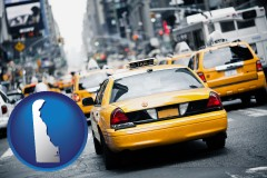 delaware map icon and New York City taxis
