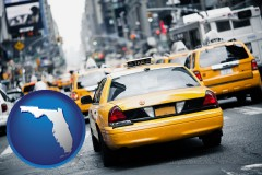 florida map icon and New York City taxis
