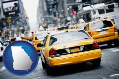 georgia map icon and New York City taxis
