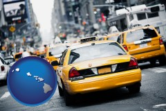 hawaii map icon and New York City taxis