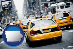 iowa map icon and New York City taxis