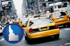 idaho map icon and New York City taxis