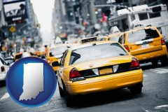 indiana map icon and New York City taxis