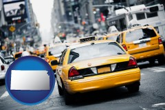 kansas map icon and New York City taxis