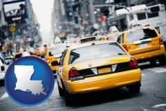 louisiana map icon and New York City taxis
