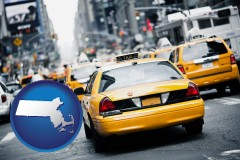 massachusetts map icon and New York City taxis