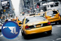 maryland map icon and New York City taxis