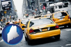 maine map icon and New York City taxis
