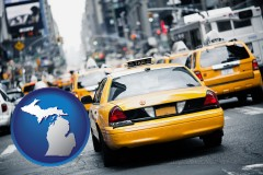 michigan map icon and New York City taxis