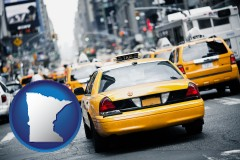 minnesota map icon and New York City taxis
