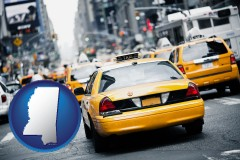 mississippi map icon and New York City taxis