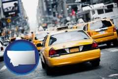 montana map icon and New York City taxis