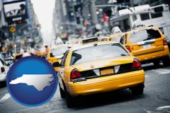 north-carolina map icon and New York City taxis