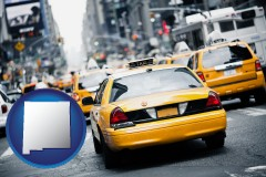 new-mexico map icon and New York City taxis