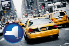 new-york map icon and New York City taxis