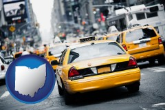 ohio map icon and New York City taxis
