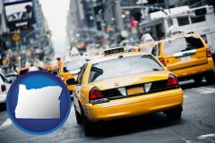 oregon map icon and New York City taxis