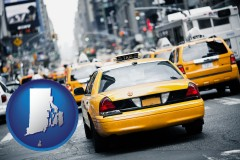 rhode-island map icon and New York City taxis