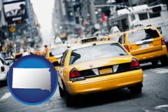 south-dakota map icon and New York City taxis