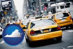virginia map icon and New York City taxis