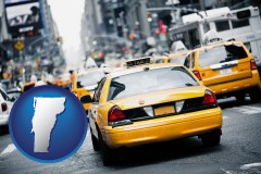 vermont map icon and New York City taxis