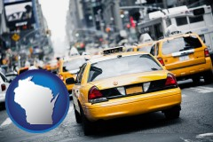 wisconsin map icon and New York City taxis