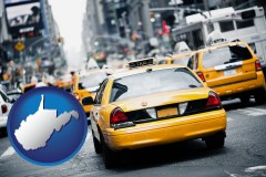 west-virginia map icon and New York City taxis