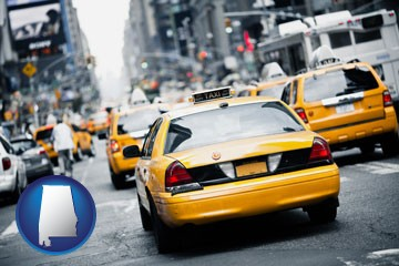 New York City taxis - with Alabama icon