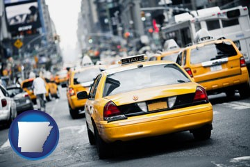 New York City taxis - with Arkansas icon
