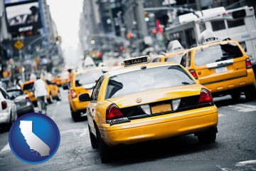 New York City taxis - with California icon