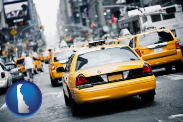 New York City taxis - with Delaware icon