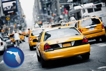 New York City taxis - with Florida icon