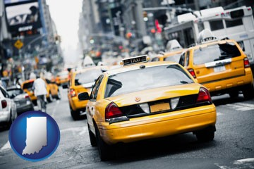 New York City taxis - with Indiana icon