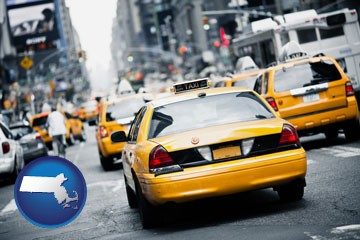 New York City taxis - with Massachusetts icon