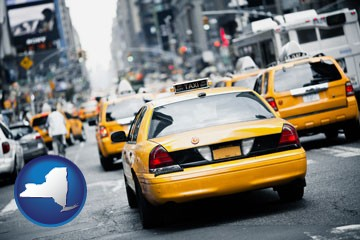 New York City taxis - with New York icon