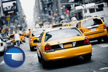 New York City taxis - with Oklahoma icon