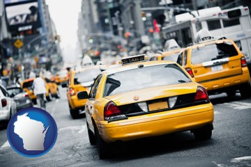 New York City taxis - with Wisconsin icon