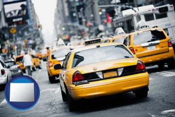 New York City taxis - with Wyoming icon